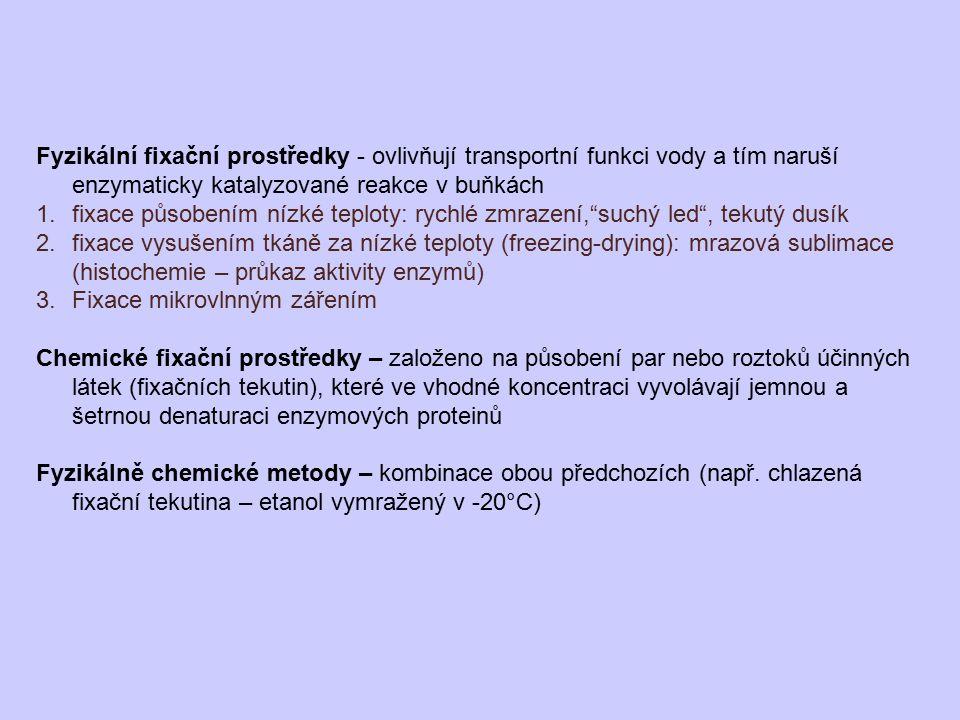 Fyzikální fixační prostředky - ovlivňují transportní funkci vody a tím naruší enzymaticky katalyzované reakce v buňkách