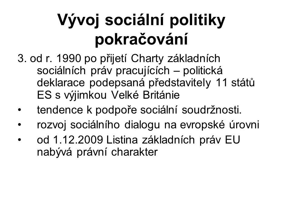 Vývoj sociální politiky pokračování