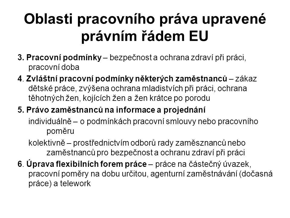 Oblasti pracovního práva upravené právním řádem EU