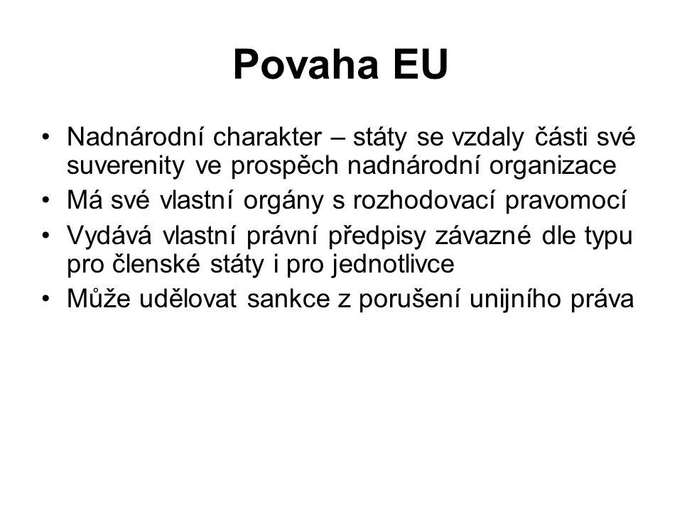 Povaha EU Nadnárodní charakter – státy se vzdaly části své suverenity ve prospěch nadnárodní organizace.
