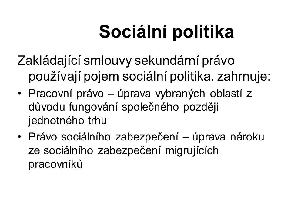 Sociální politika Zakládající smlouvy sekundární právo používají pojem sociální politika. zahrnuje: