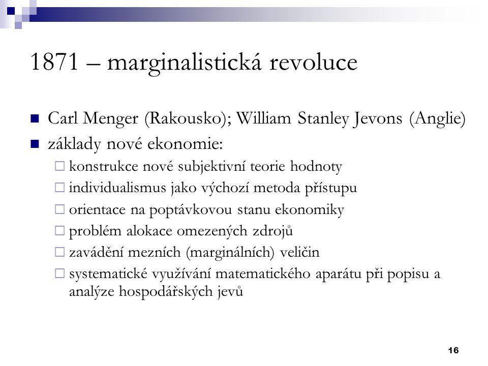 1871 – marginalistická revoluce