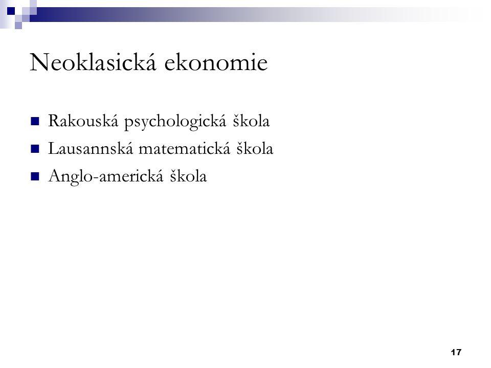 Neoklasická ekonomie Rakouská psychologická škola