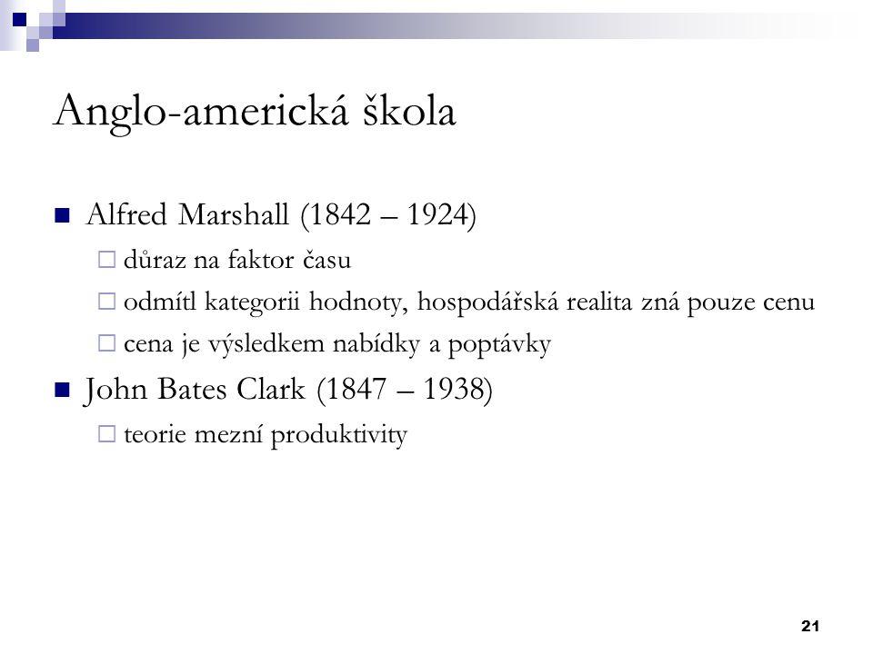 Anglo-americká škola Alfred Marshall (1842 – 1924)