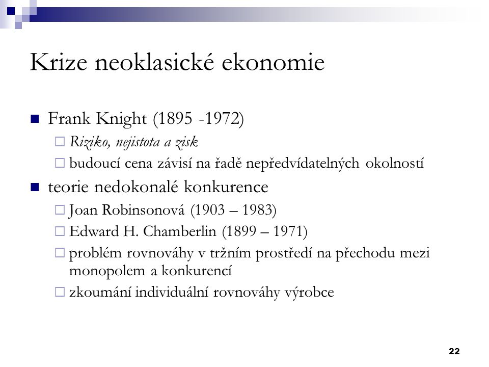 Krize neoklasické ekonomie