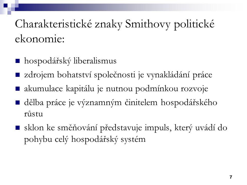 Charakteristické znaky Smithovy politické ekonomie: