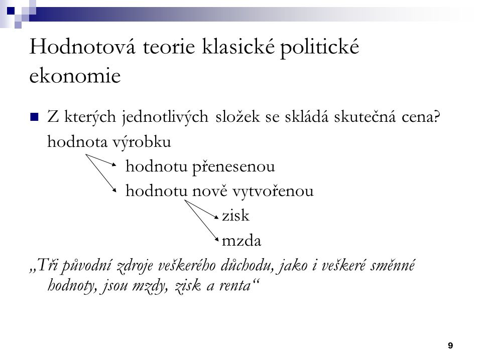 Hodnotová teorie klasické politické ekonomie