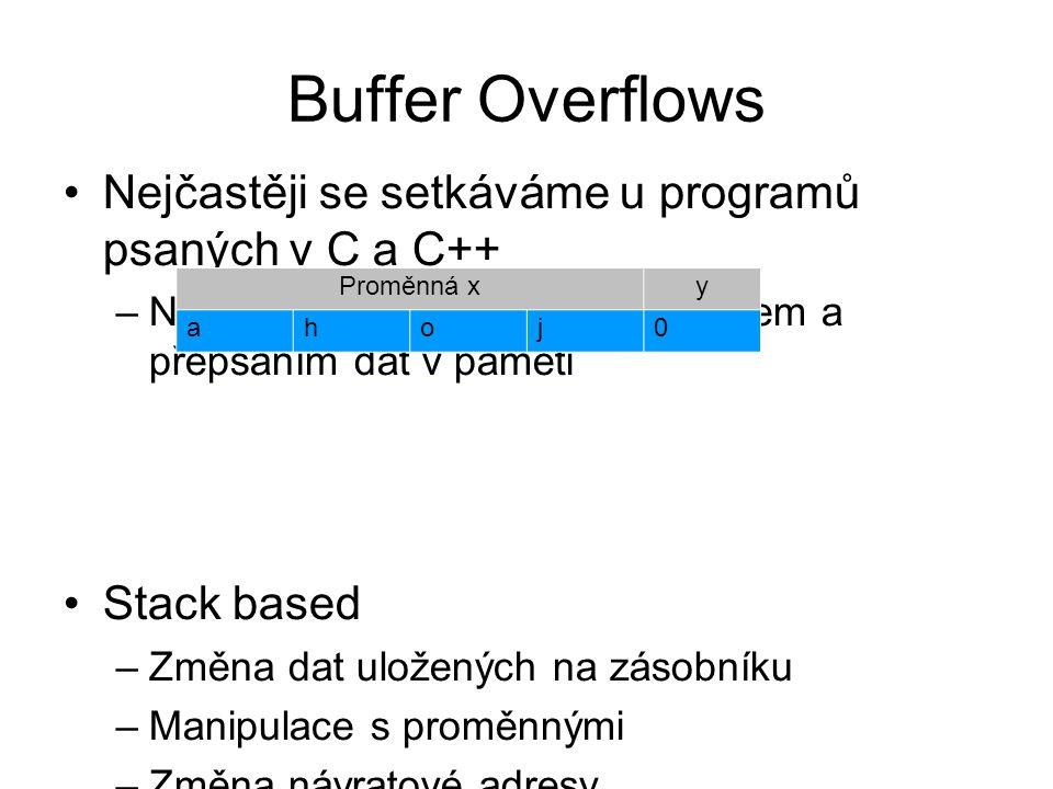 Buffer Overflows Nejčastěji se setkáváme u programů psaných v C a C++