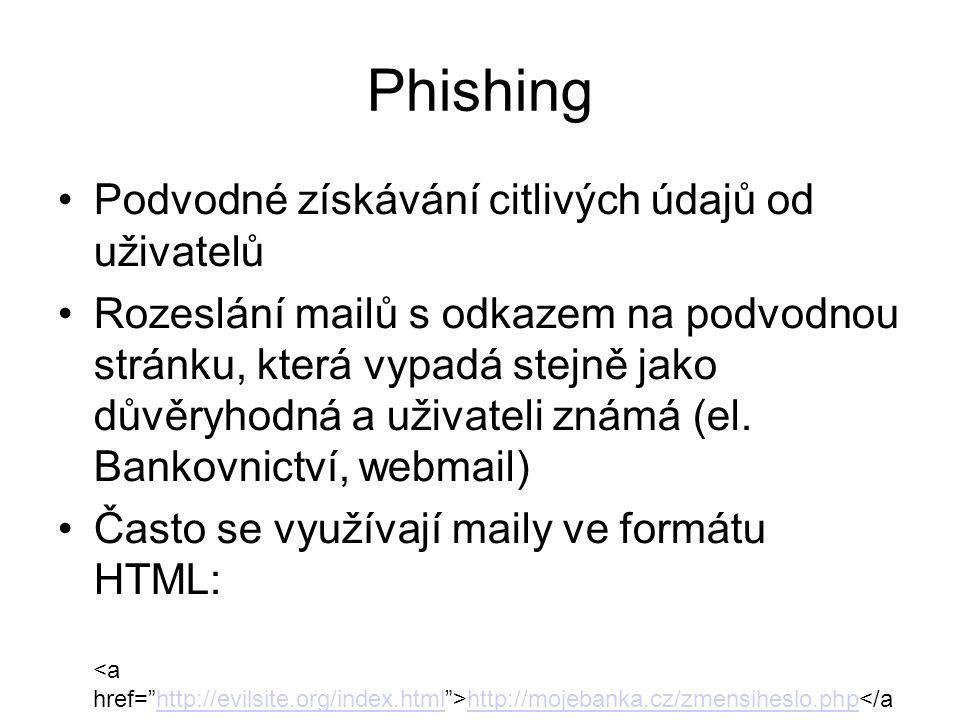 Phishing Podvodné získávání citlivých údajů od uživatelů