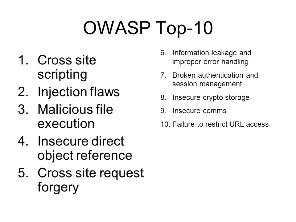 OWASP Top-10 Cross site scripting Injection flaws