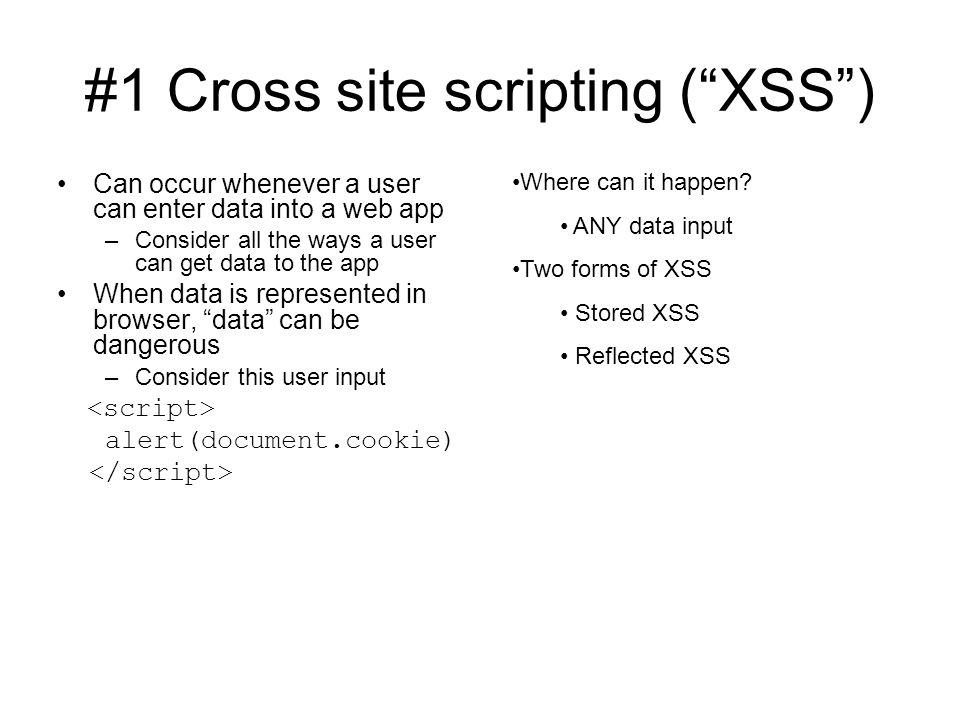 #1 Cross site scripting ( XSS )
