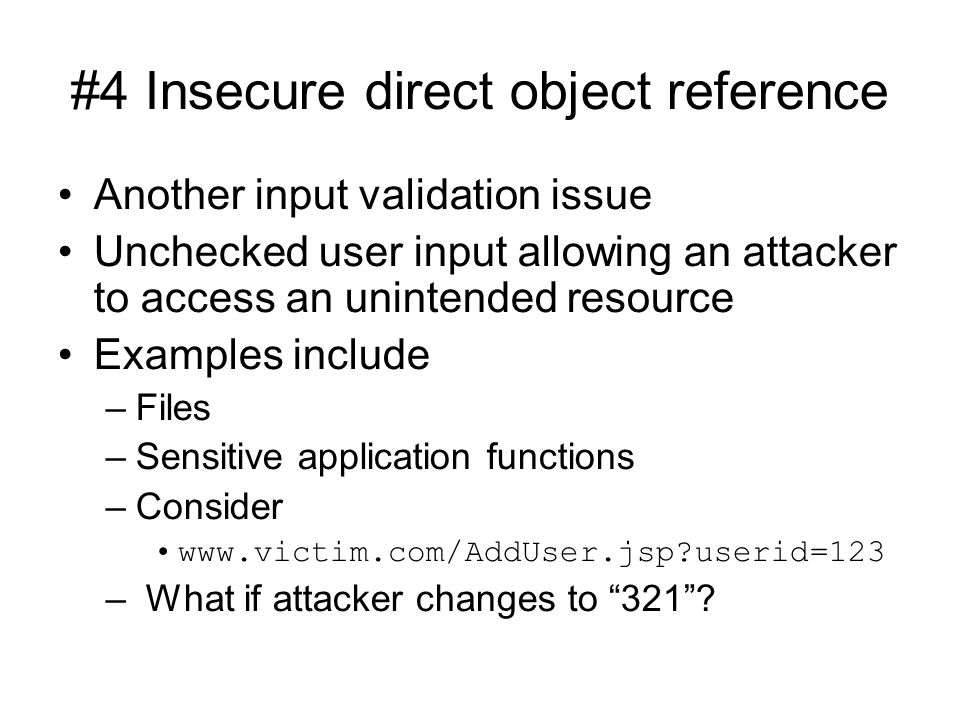 #4 Insecure direct object reference