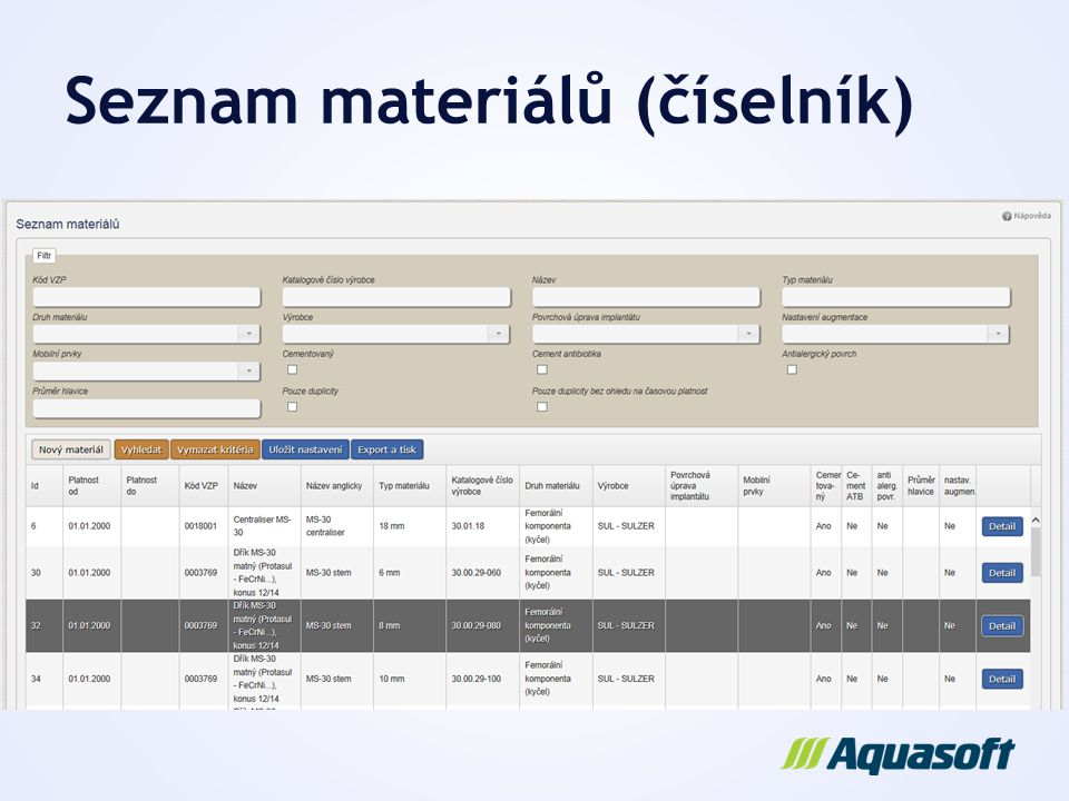 Seznam materiálů (číselník)
