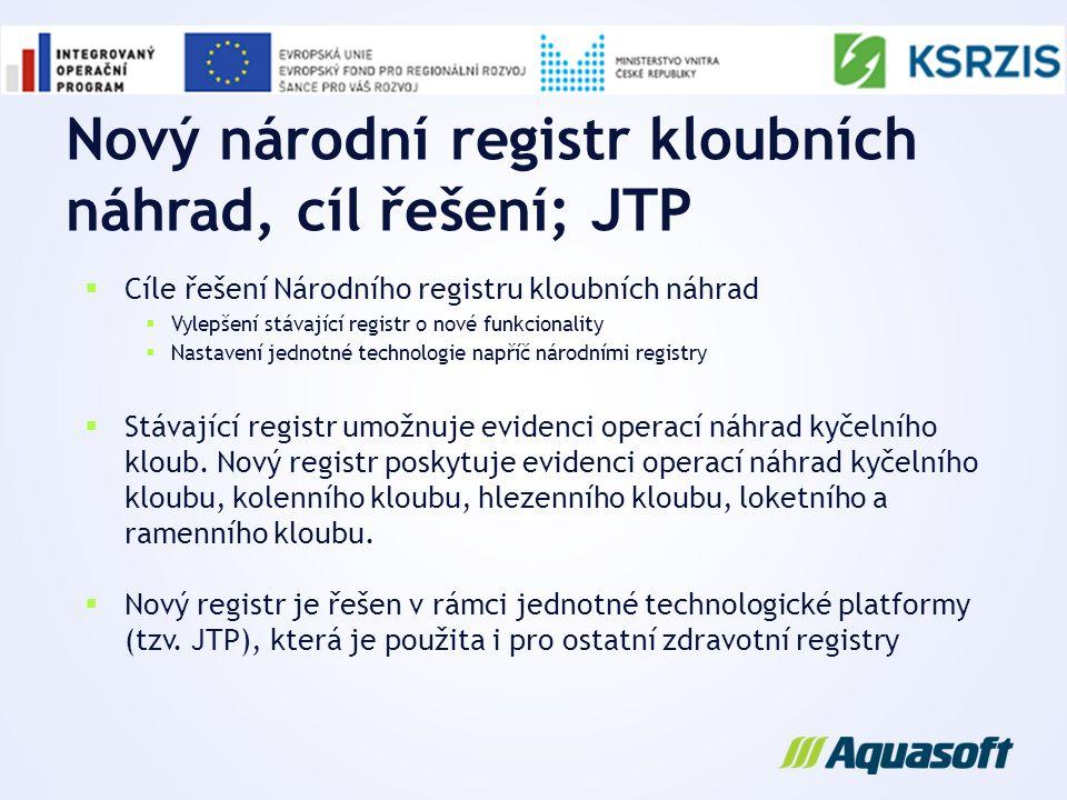 Nový národní registr kloubních náhrad, cíl řešení; JTP