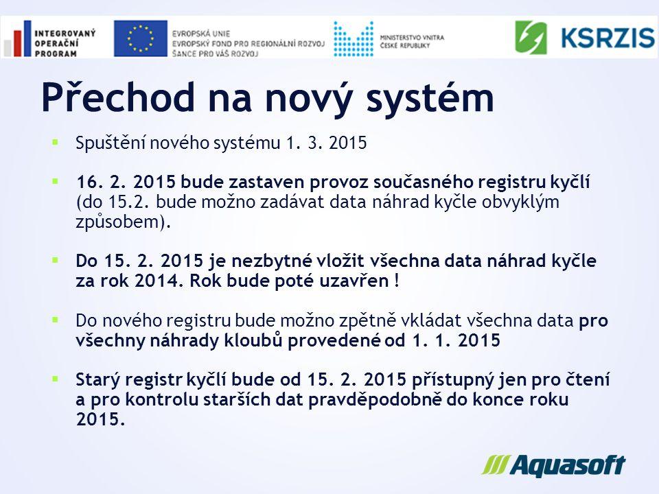 Přechod na nový systém Spuštění nového systému 1. 3. 2015