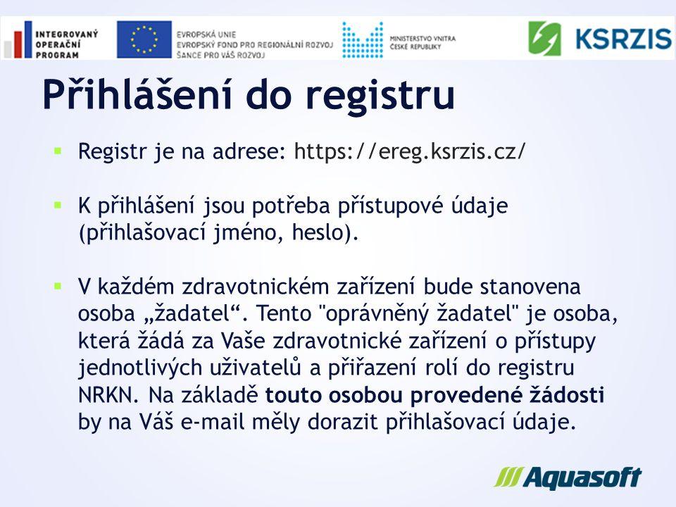 Přihlášení do registru
