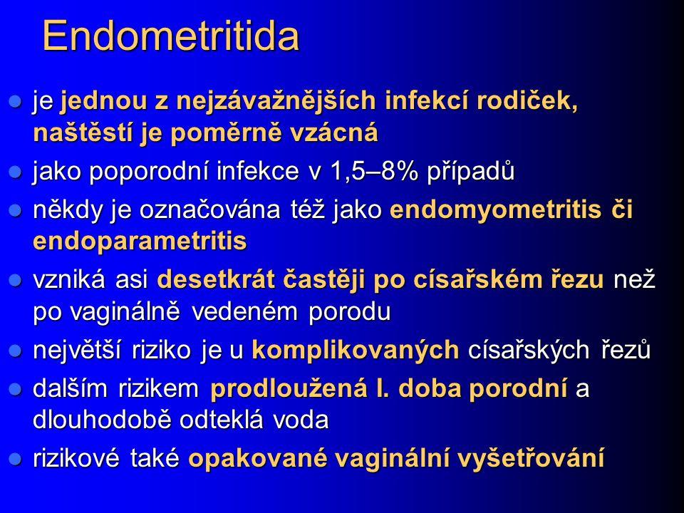 Endometritida je jednou z nejzávažnějších infekcí rodiček, naštěstí je poměrně vzácná. jako poporodní infekce v 1,5–8% případů.