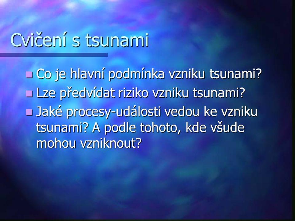 Cvičení s tsunami Co je hlavní podmínka vzniku tsunami