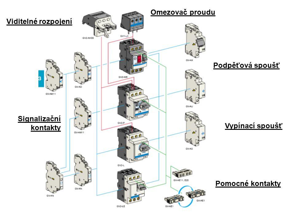 Omezovač proudu Viditelné rozpojení. Podpěťová spoušť.