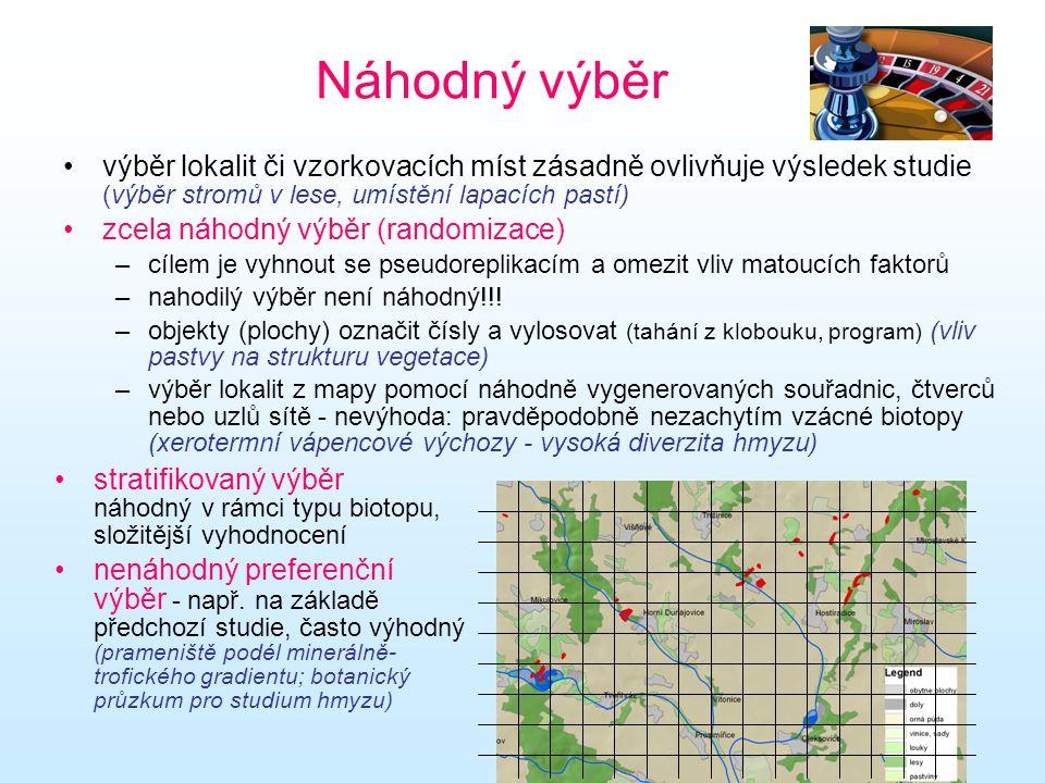 Náhodný výběr výběr lokalit či vzorkovacích míst zásadně ovlivňuje výsledek studie (výběr stromů v lese, umístění lapacích pastí)