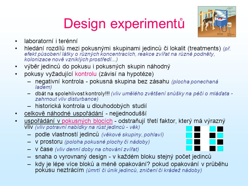 Design experimentů laboratorní i terénní