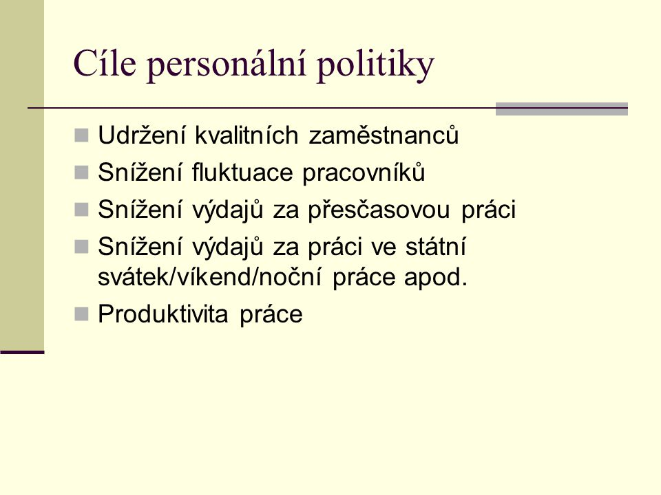 Cíle personální politiky