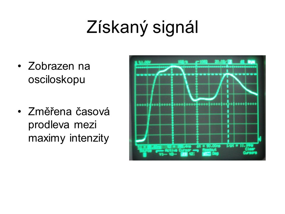 Získaný signál Zobrazen na osciloskopu