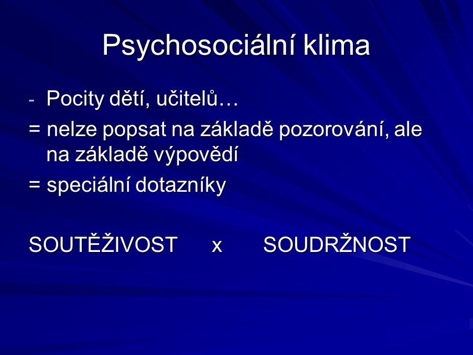 Psychosociální klima Pocity dětí, učitelů…