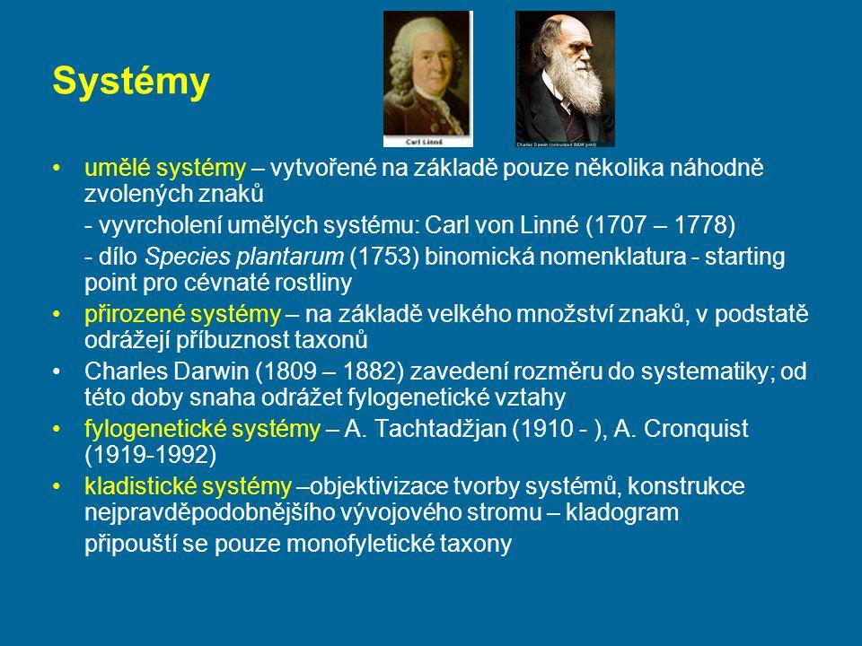 Systémy umělé systémy – vytvořené na základě pouze několika náhodně zvolených znaků. - vyvrcholení umělých systému: Carl von Linné (1707 – 1778)