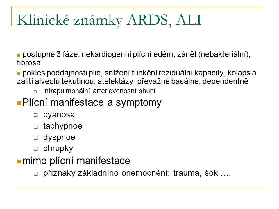 Klinické známky ARDS, ALI