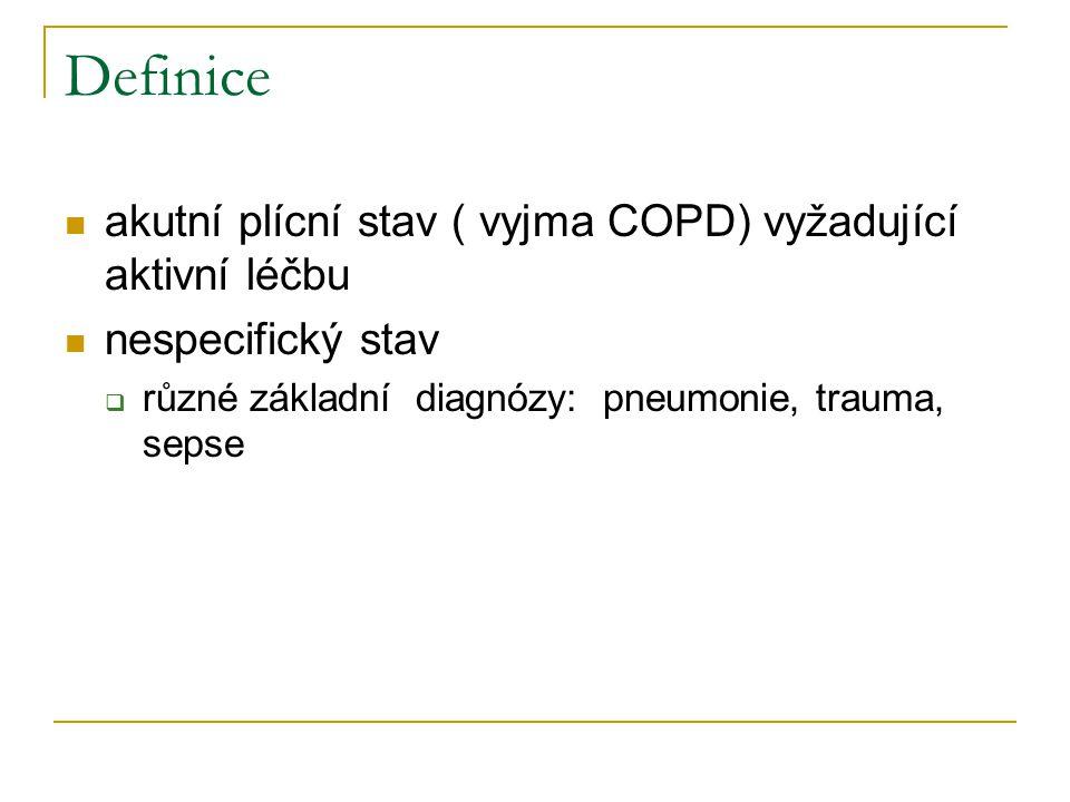 Definice akutní plícní stav ( vyjma COPD) vyžadující aktivní léčbu