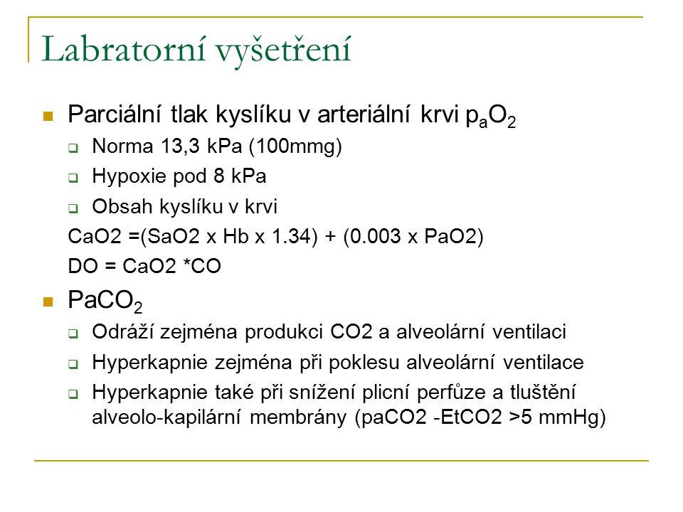 Labratorní vyšetření Parciální tlak kyslíku v arteriální krvi paO2