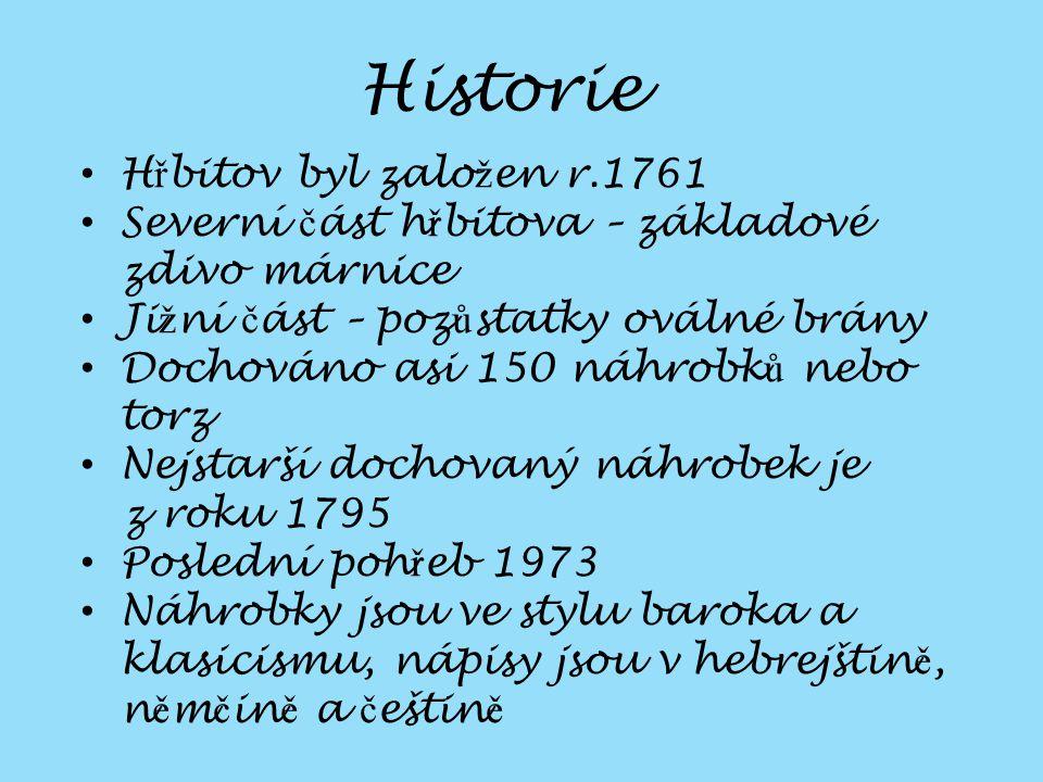 Historie Hřbitov byl založen r.1761