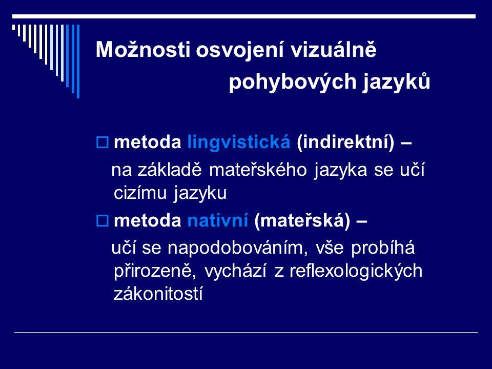 Možnosti osvojení vizuálně pohybových jazyků