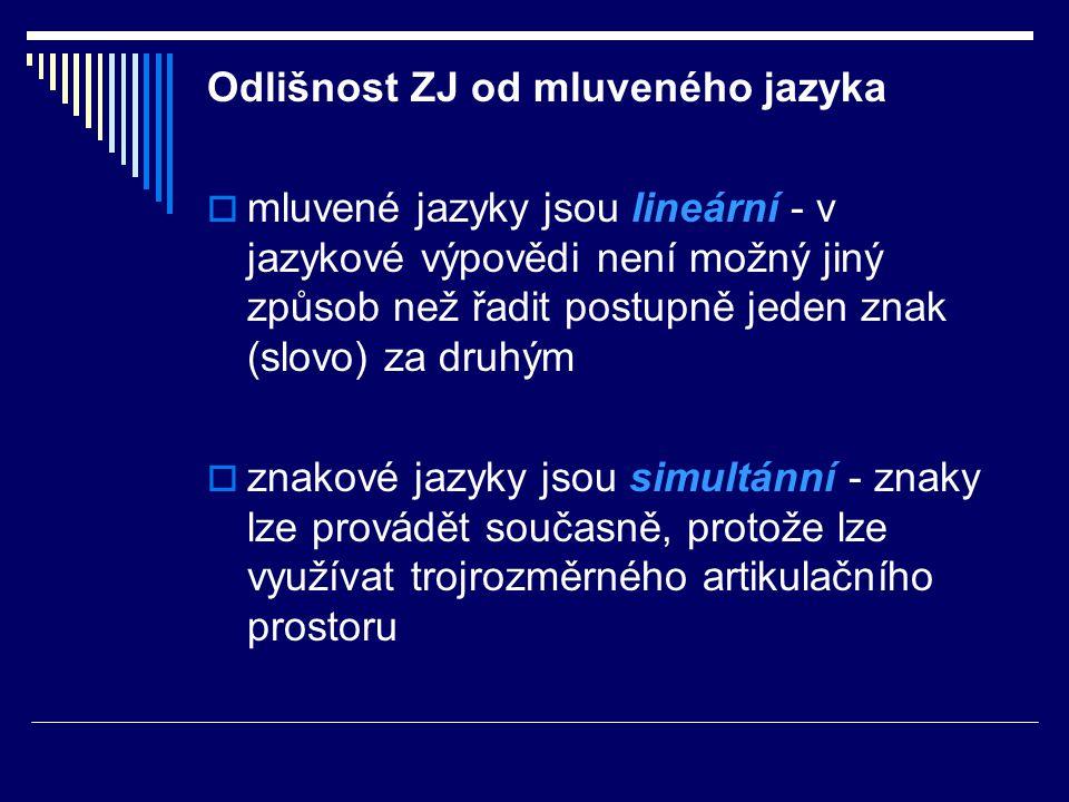 Odlišnost ZJ od mluveného jazyka