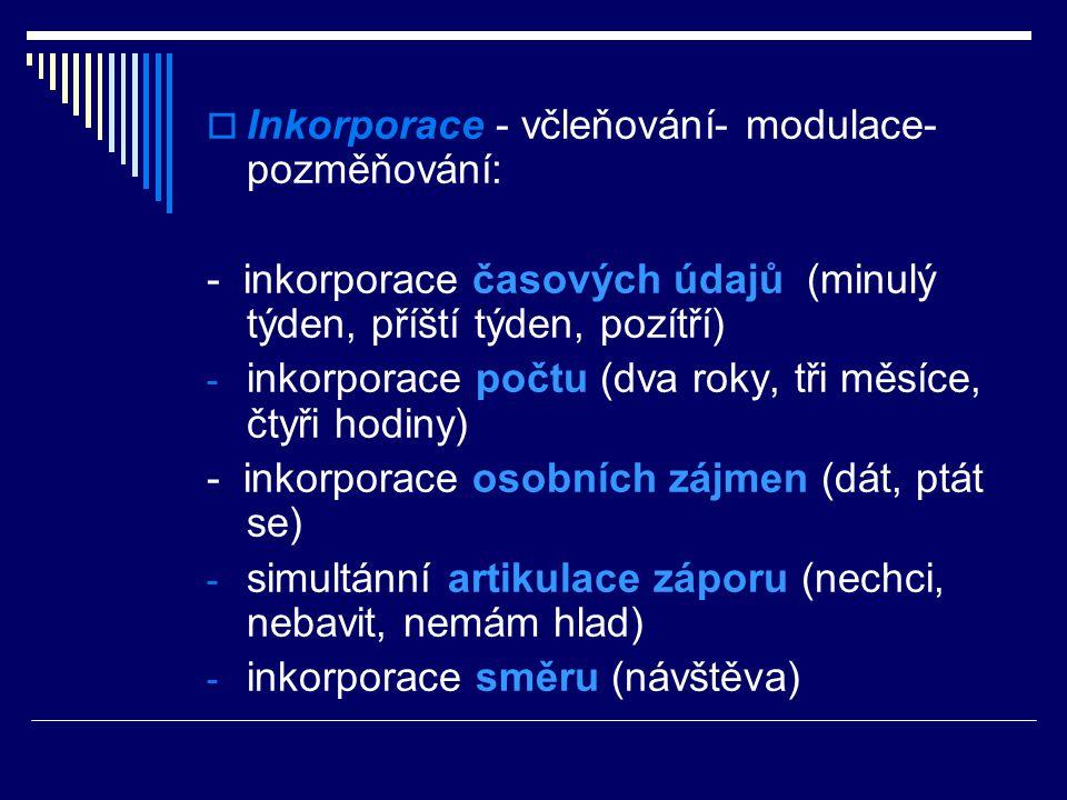 Inkorporace - včleňování- modulace- pozměňování: