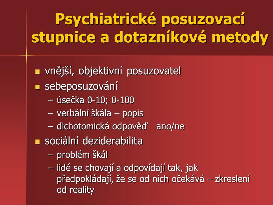 Psychiatrické posuzovací stupnice a dotazníkové metody