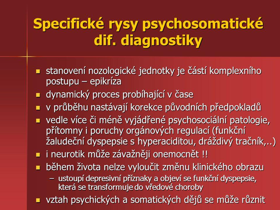 Specifické rysy psychosomatické dif. diagnostiky