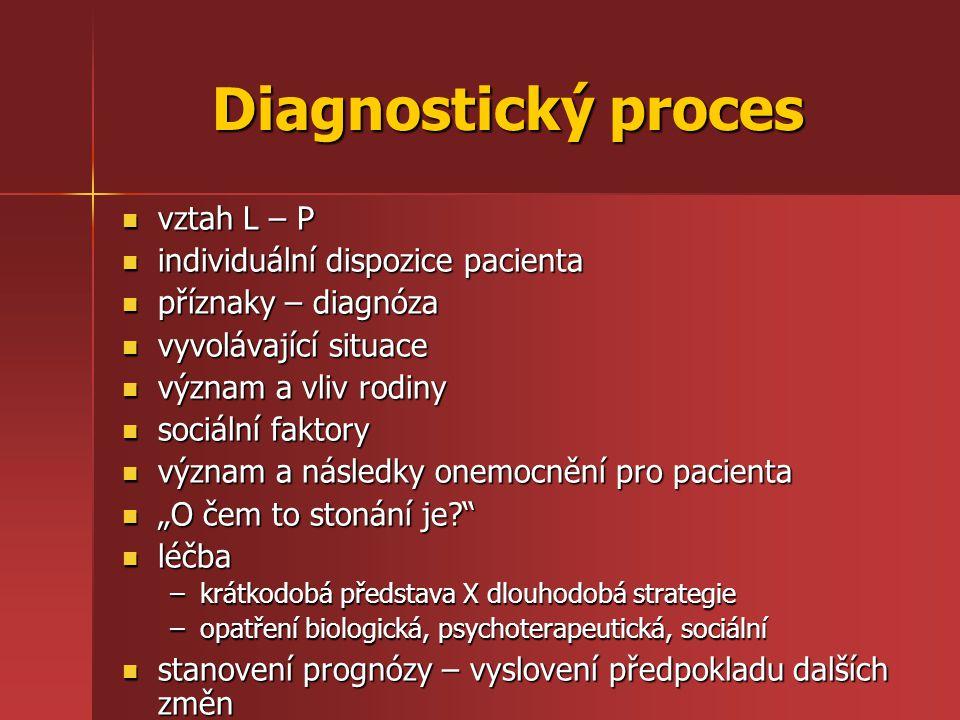 Diagnostický proces vztah L – P individuální dispozice pacienta