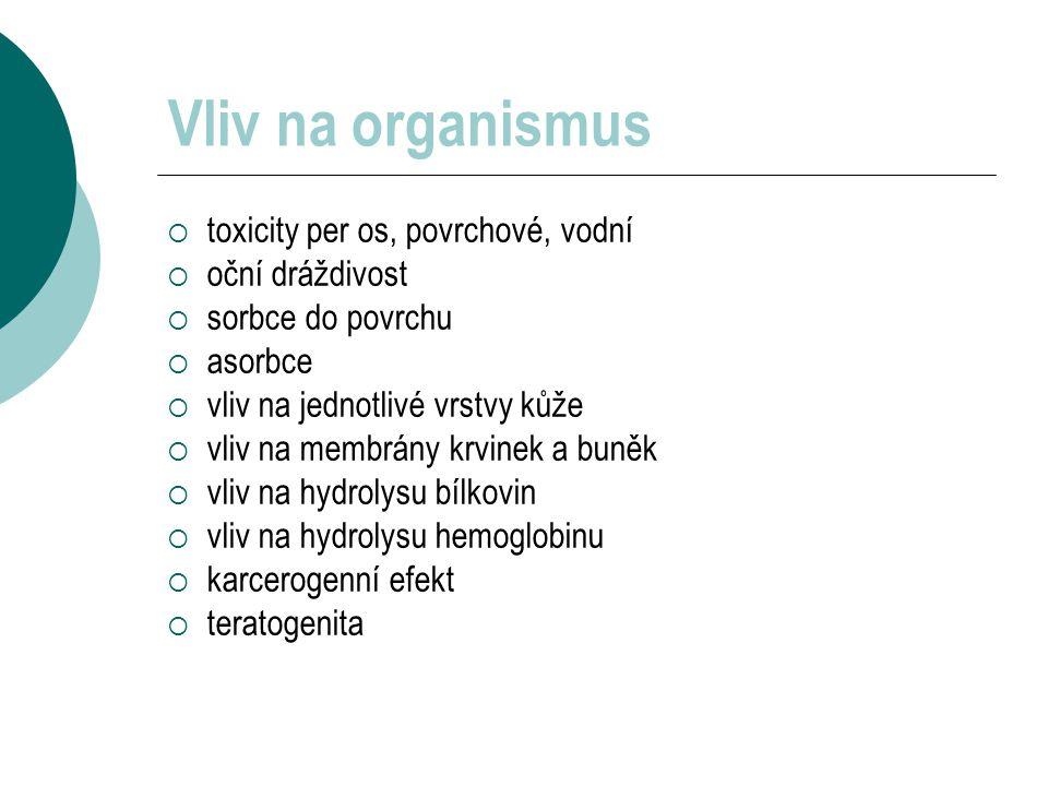 Vliv na organismus toxicity per os, povrchové, vodní oční dráždivost