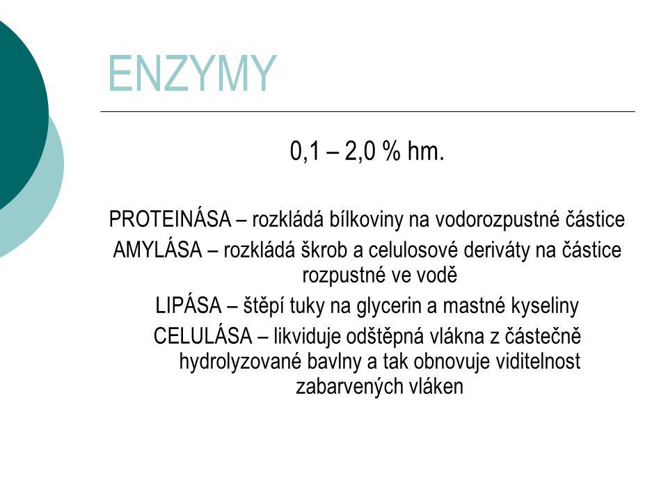 ENZYMY 0,1 – 2,0 % hm. PROTEINÁSA – rozkládá bílkoviny na vodorozpustné částice.
