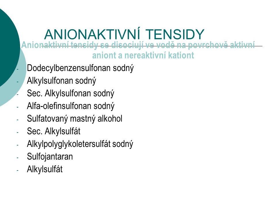 ANIONAKTIVNÍ TENSIDY Anionaktivní tensidy se disociují ve vodě na povrchově aktivní aniont a nereaktivní kationt.