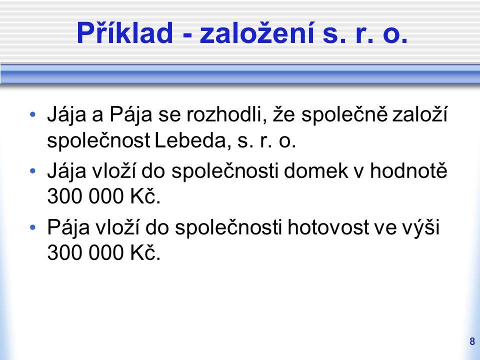 Příklad - založení s. r. o. Jája a Pája se rozhodli, že společně založí společnost Lebeda, s. r. o.