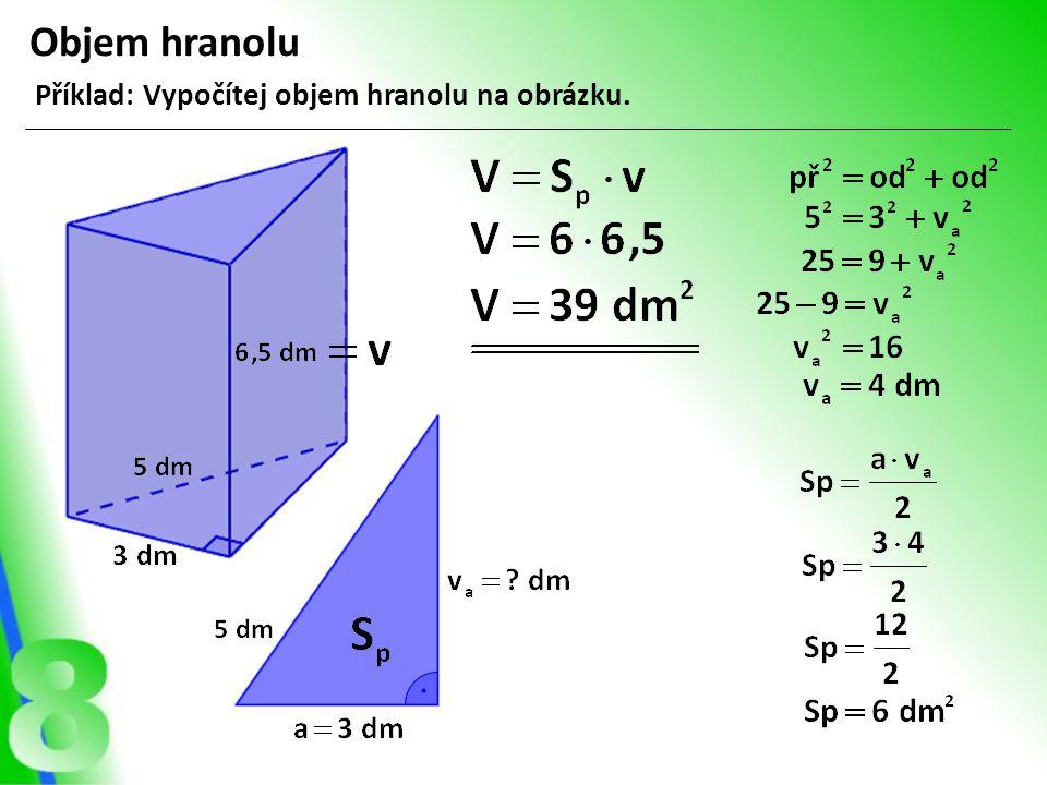 Objem hranolu Příklad: Vypočítej objem hranolu na obrázku.