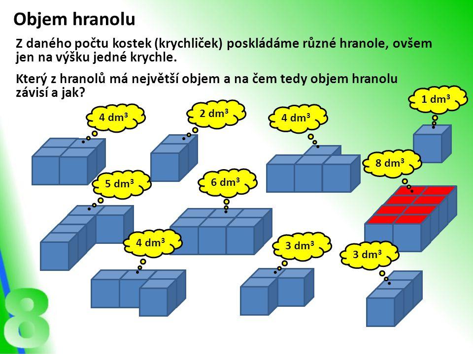 Objem hranolu Z daného počtu kostek (krychliček) poskládáme různé hranole, ovšem jen na výšku jedné krychle.