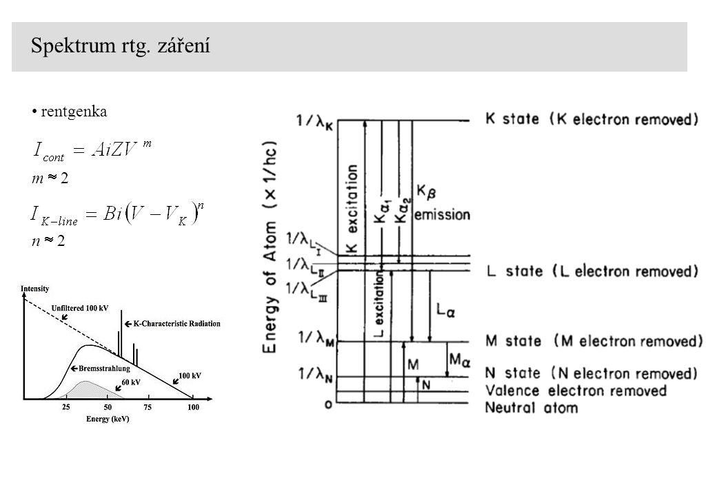 Spektrum rtg. záření rentgenka m  2 n  2
