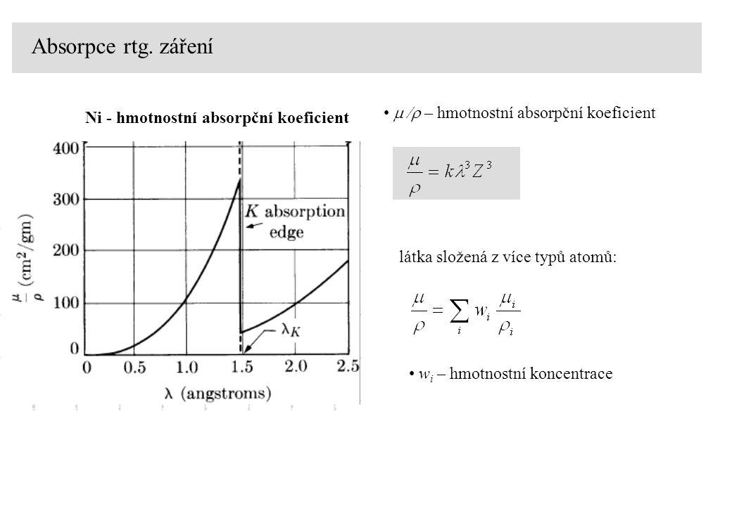 Absorpce rtg. záření m /r – hmotnostní absorpční koeficient