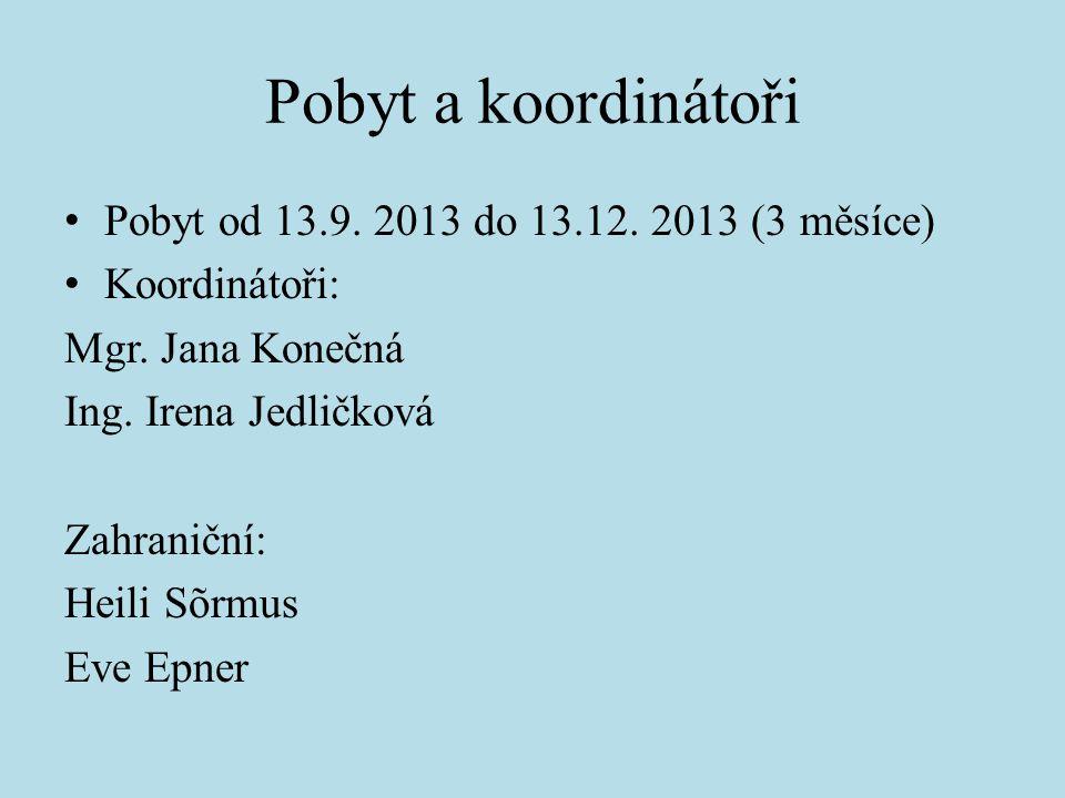 Pobyt a koordinátoři Pobyt od 13.9. 2013 do 13.12. 2013 (3 měsíce)
