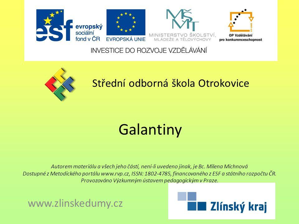 Galantiny Střední odborná škola Otrokovice www.zlinskedumy.cz