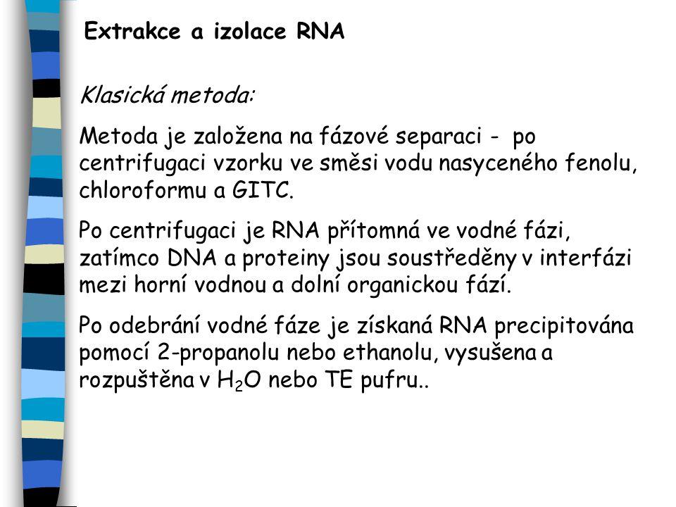 Extrakce a izolace RNA Klasická metoda: